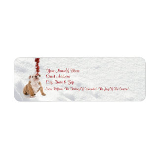 ¡El perrito del dogo lo dejó nevar!  Etiquetas del Etiqueta De Remite