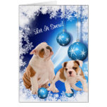 El perrito del dogo lo dejó nevar saludo - persona tarjeta