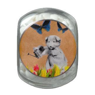 El perrito del vintage florece el Grunge II de la Frascos Cristal