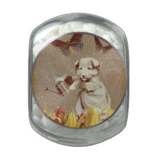 El perrito del vintage florece el Grunge III de la Frascos Cristal