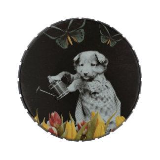 El perrito del vintage florece el negro de la jarrones de dulces
