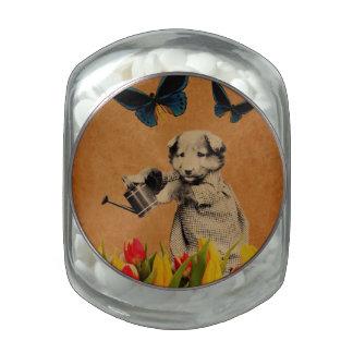 El perrito del vintage florece Grunge de la Jarrones De Cristal