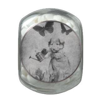 El perrito del vintage florece la mariposa Blk&Wht Frascos Cristal