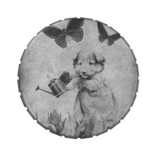 El perrito del vintage florece la mariposa Blk&Wht Jarrones De Dulces