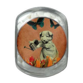 El perrito del vintage florece la mariposa I Frascos De Cristal Jelly Belly