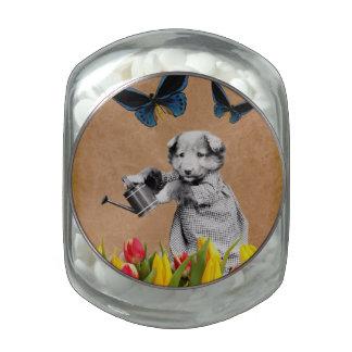 El perrito del vintage florece la mariposa jarras de cristal