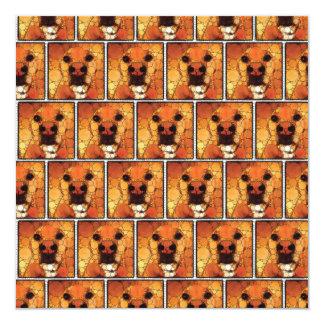 """El perrito fresco del arte del perro sospecha el invitación 5.25"""" x 5.25"""""""