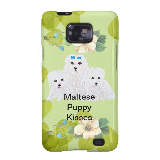 El perrito maltés besa diseño verde de la hoja del samsung galaxy s2 carcasa