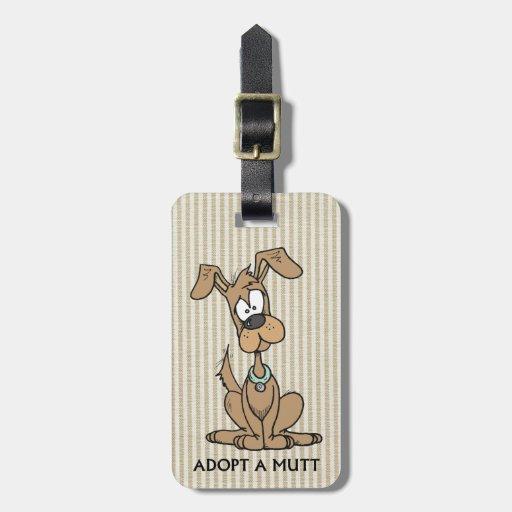 el perrito marrón/adopta un mutt etiquetas de maletas