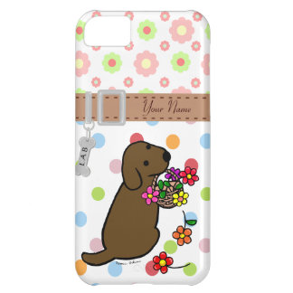 El perrito personalizado del laboratorio del choco funda para iPhone 5C