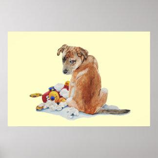 El perrito y el realista lindos del peluche persig impresiones