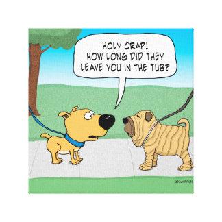 El perro arrugado divertido de Shar-Pei envolvió Impresión En Tela
