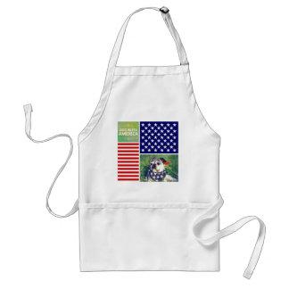 El perro bendice América patriótica Delantal