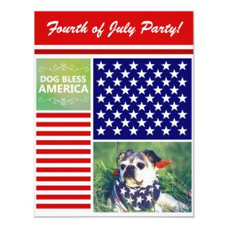 El perro bendice América patriótica Invitación 10,8 X 13,9 Cm