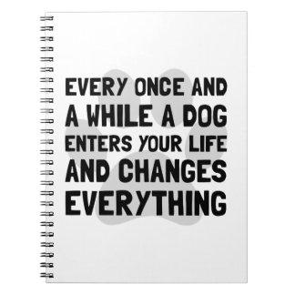 El perro cambia todo spiral notebooks