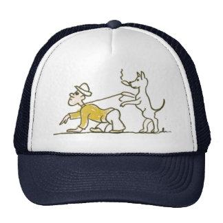 El perro camina hombre gorros bordados