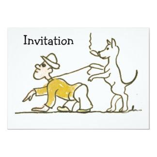 """El perro camina hombre invitación 5"""" x 7"""""""