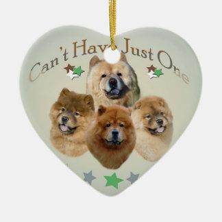 El perro chino de perro chino no puede tener adorno navideño de cerámica en forma de corazón
