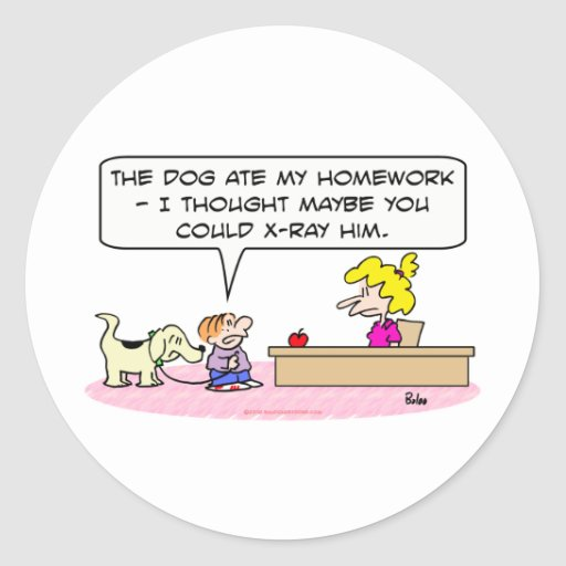 el perro comió la radiografía de la preparación pegatina redonda