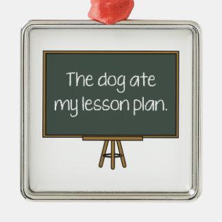 El perro comió mi plan de lección adorno navideño cuadrado de metal