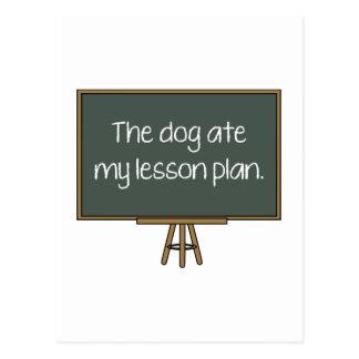 El perro comió mi plan de lección tarjeta postal