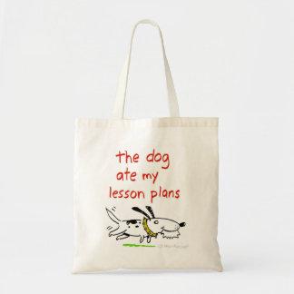 el perro comió mi tote de los planes de lección bolsa tela barata