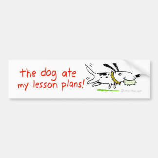 el perro comió mis planes de lección pegatina de parachoque