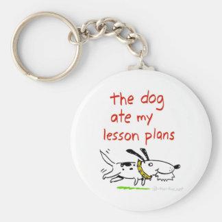 el perro comió mis planes de lección llavero redondo tipo pin