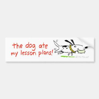 el perro comió mis planes de lección pegatina para auto
