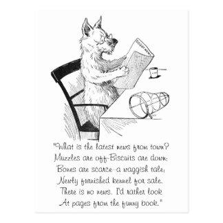 El perro con los vidrios lee el papel tarjeta postal