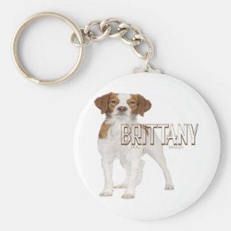 El perro de Bretaña cría el ブルターニュ犬の品種 Llavero Redondo Tipo Pin
