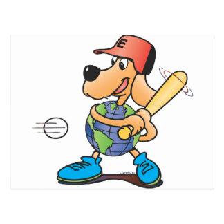 El perro de la tierra juega a béisbol postales