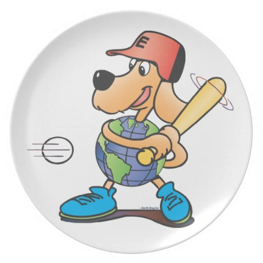 El perro de la tierra juega la placa del béisbol platos para fiestas