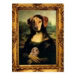 El perro de Mona Lisa - Golda Lisa - retrato famos Postales