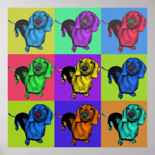 El perro de patas muy cortas Doxie del arte pop ar Poster