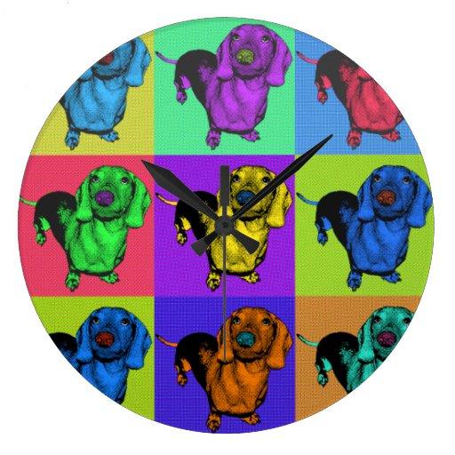 El perro de patas muy cortas Doxie del arte pop ar Reloj De Pared