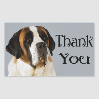 El perro de perrito de St Bernard le agradece Pegatina Rectangular