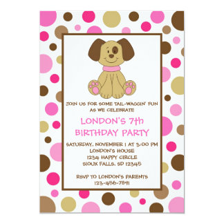 El perro de perrito puntea invitaciones rosadas invitación 12,7 x 17,8 cm