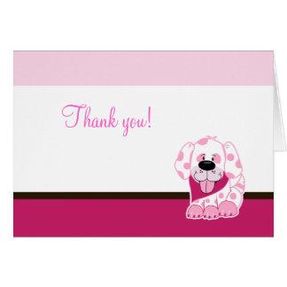 El perro de perrito rosado doblado le agradece obs tarjetas