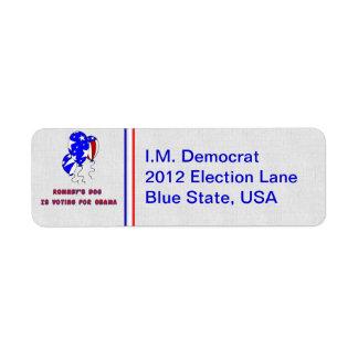 El perro de Romney Etiqueta De Remite