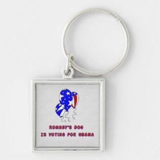 El perro de Romney Llavero Cuadrado Plateado