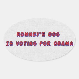El perro de Romney Pegatina De Ovaladas