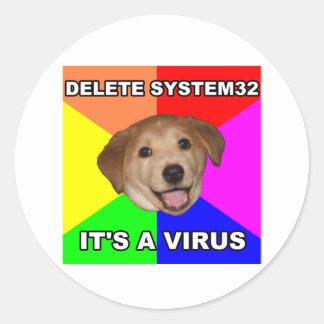 El perro del consejo dice: Suprima el virus Pegatina Redonda