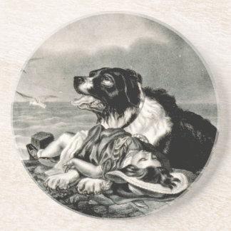 El perro del rescate de Ives lo ahorra curtidor y Posavasos Para Bebidas