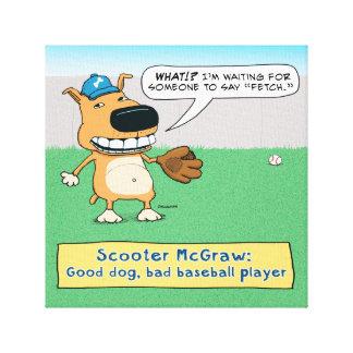El perro divertido no traerá la lona envuelta impresión en tela