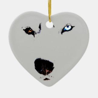 El perro esquimal personalizado ornamento fornido adorno de cerámica en forma de corazón