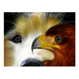 El perro esquimal y el águila poderosos tarjetas postales