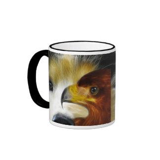 El perro esquimal y el águila poderosos taza de dos colores