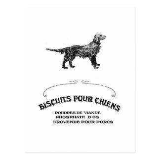 El perro francés, anuncio antiguo de la galleta de postal