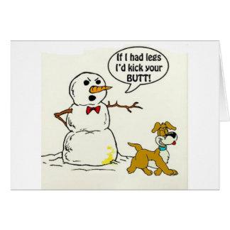 El perro hace pis en el muñeco de nieve tarjeta de felicitación